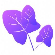 紫色树叶卡通装饰免抠图