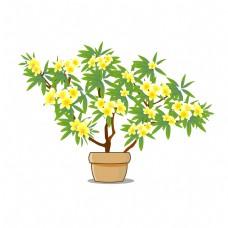 卡通鲜花装饰鸡蛋花树