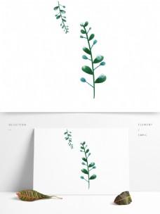 小清新蓝绿色叶子露水元素