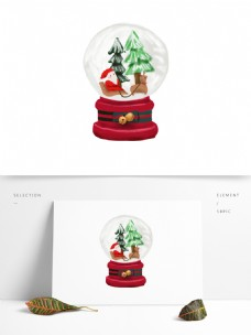 原创圣诞老人可爱水晶球