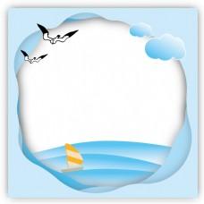 夏日素材蓝色波纹海鸥大海矢量边框免抠