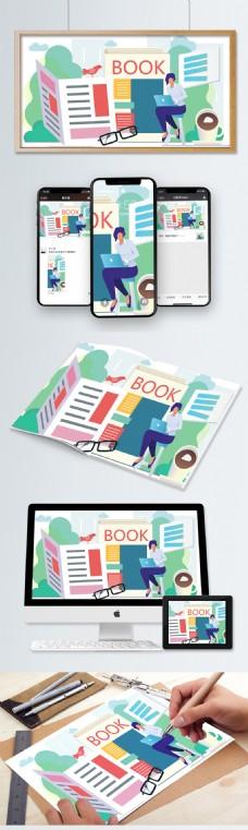 创意公司女白领看书进修办公扁平矢量插画