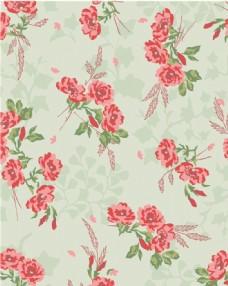 红色花朵小清新家纺印花