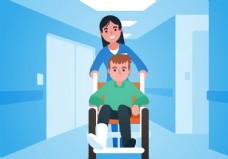 手绘做轮椅的男人插画设计AI