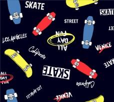 滑板五颜六色平铺图