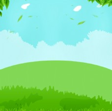 春天背景  草地蓝天