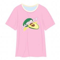 夏季粉色牛油果图案清新T恤衫