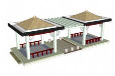 SU中式双亭连花架模型