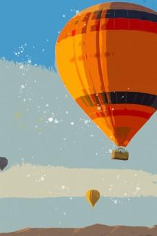 热气球异域风情旅行背景