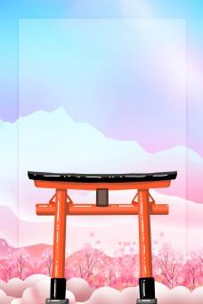 日系神社樱花背景海报