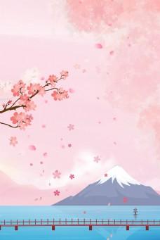 日系富士山卡通背景海报