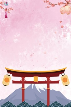 日本旅行富士山背景海报