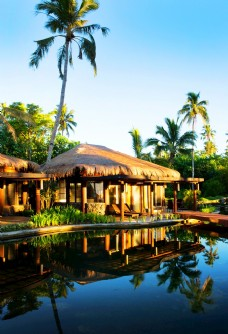 热带海岛独栋草屋泳池酒店