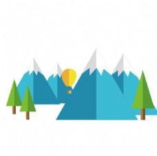 雪山 树 热气球 扁平化 树木
