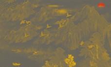 新中式手绘线条山水国画背景