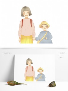 日系小清新放学一起回家的姐弟俩