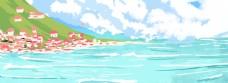 海边风景绿色蓝天免抠图