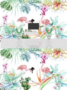 手绘热带植物简约卡通火烈鸟背景墙