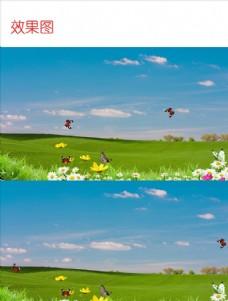 风吹草原蓝天白云风景视频