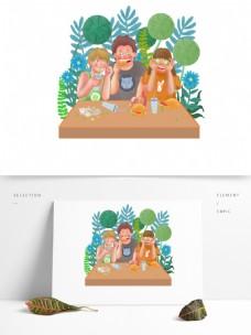 可商用高清手绘卡通人物童儿一起快乐吃喝