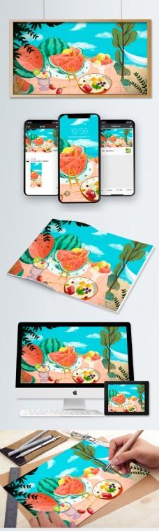 原创手绘夏至绿色西瓜水果简约小清新插画