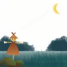 夏季夜晚儿童插画稻草人