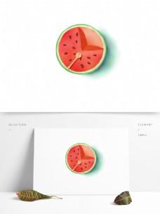 手绘创意立夏清凉吃西瓜木勺汤匙