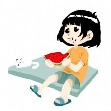 夏日素材吃西瓜的小孩