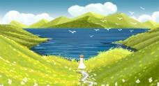 唯美春天手绘风景插画