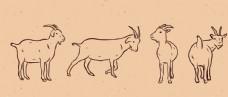 手绘山羊线稿图插画设计AI矢量