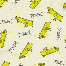 黄色滑板线描线描平铺图