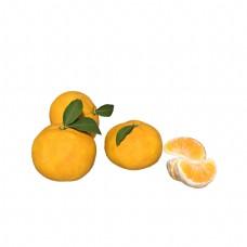 水果橘子果实绿叶