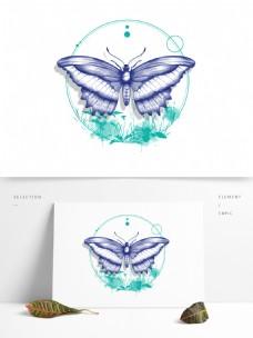 立夏昆虫蝴蝶手绘动物装饰素材夏季