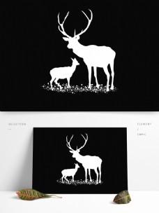 白色圣诞节鹿动物免抠元素