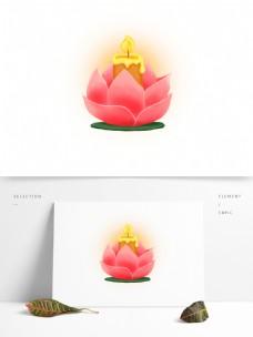 蜡烛花灯莲花荷花祈祷UI古风元素