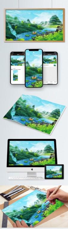 绿色夏至24二十四节气传统插画