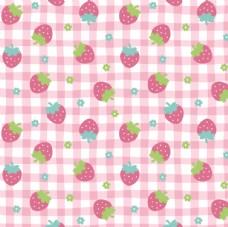 田园风草莓格子 布料印花