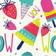 草莓冰激凌涂鸦海报