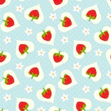 草莓小爱心可爱平铺背景图