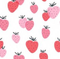 卡通草莓儿童画平铺图