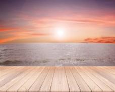夕阳天空海滩背景