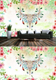 北欧抽象森林水彩花卉麋鹿背景墙