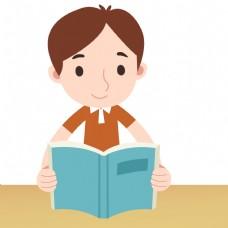 努力学习看书插画