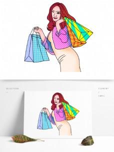 波普风购物的女性手绘设计