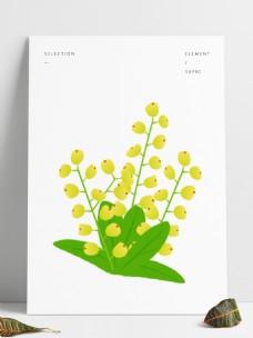 简约手绘矢量黄色米兰花花朵灌木设计元素