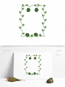 立夏西瓜水果果实花朵叶子清新卡通边框