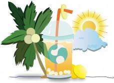 夏天的冰爽饮料装饰图案