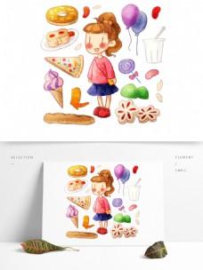 手绘可爱女孩美食气球甜甜圈披萨冰淇淋