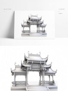 中国风古典建筑古牌楼3D模型