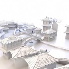 中国风小镇古典建筑小场景